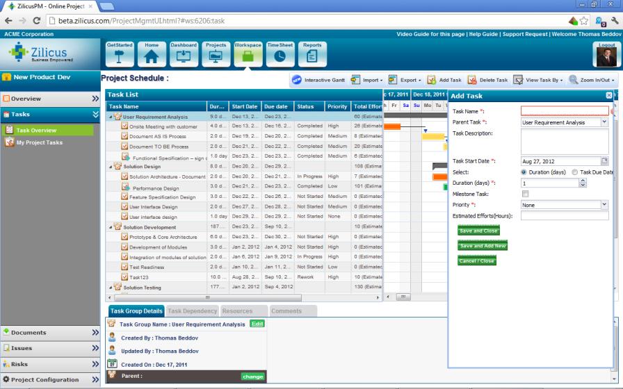 Online Task Scheduling in ZilicusPM