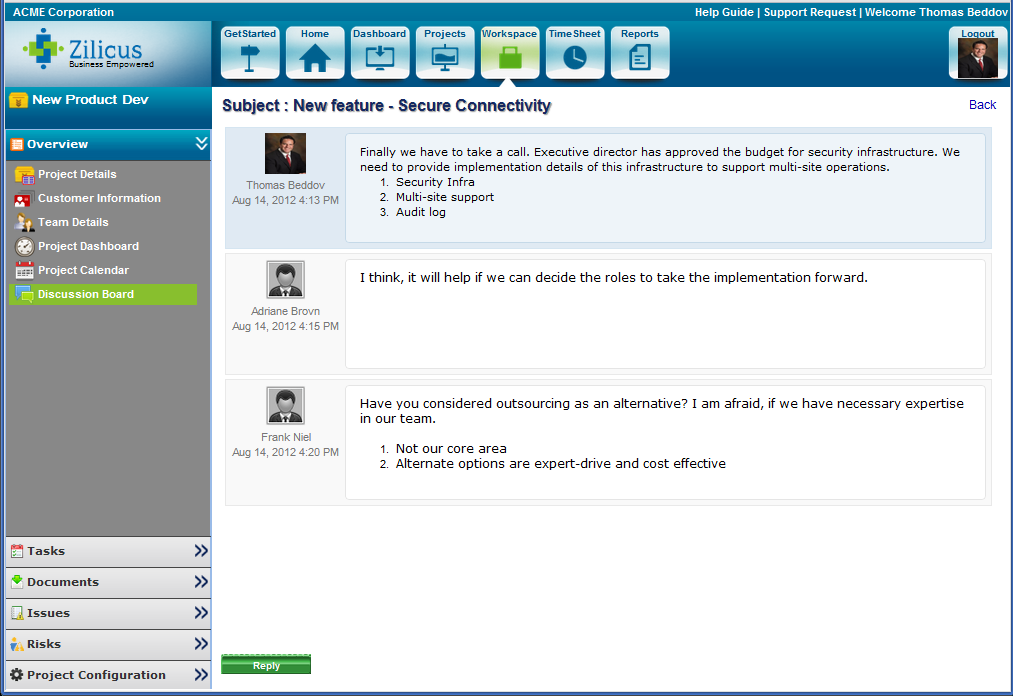Project Discussion Forum in Project Management Tool ZilicusPM