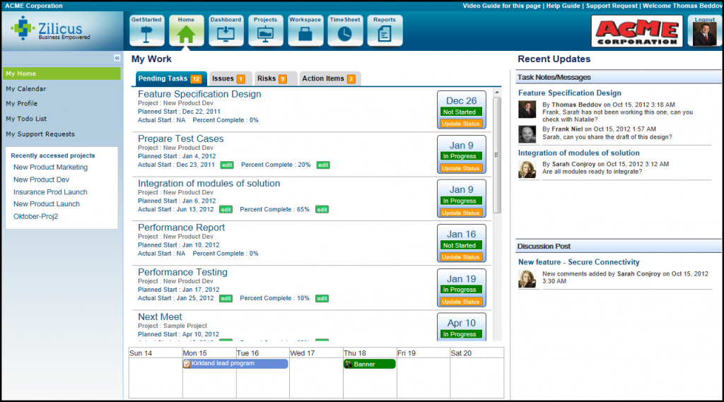 Project Management Software - home Page in ZilicusPM