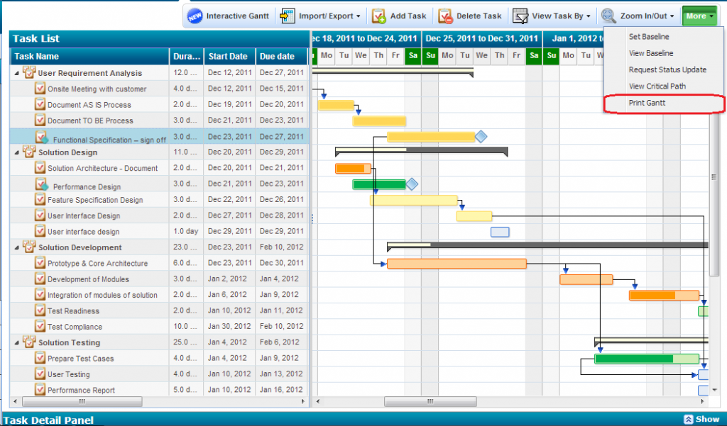 Print Project Schedule - Gantt Chart; Save as PDF