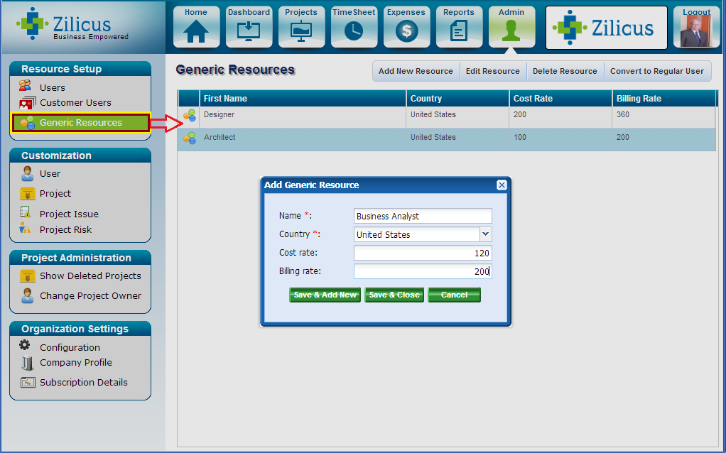 Adding generic resources in Online Project Management Software ZilicusPM7.0