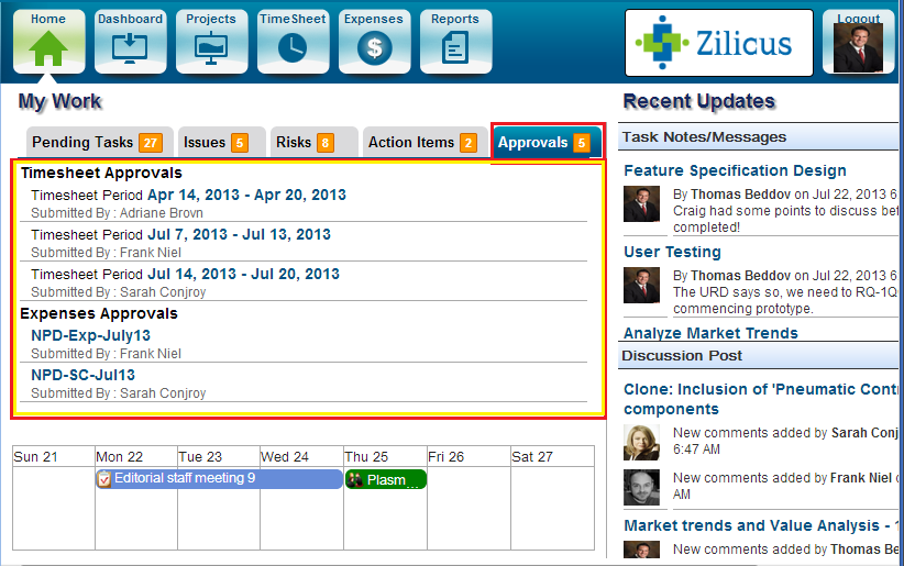 Project-Manager's Tab showing Pending Approval Notification