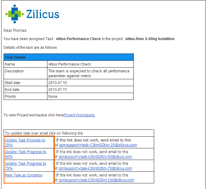 Update Task Status via Email using ZilicusPM Project Management Software