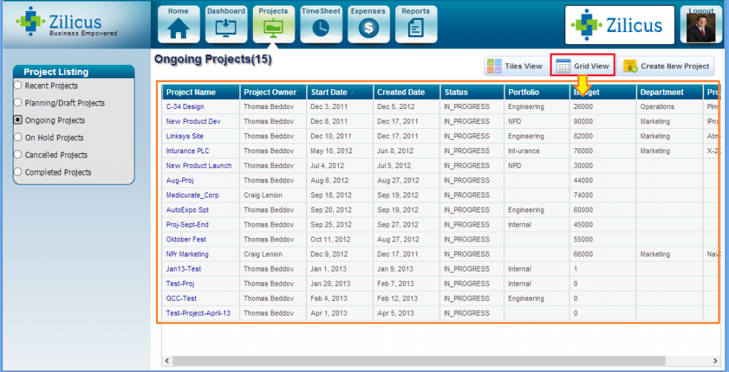 Project Listing List View