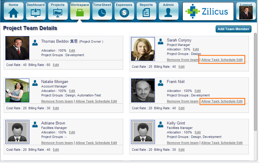 Online Project Management Software: ZilicusPM 8.1: Allow Team Members to Edit Project Schedule