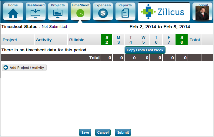 Copy Project Timesheet From Previous Week using ZilicusPM Time Tracking Software
