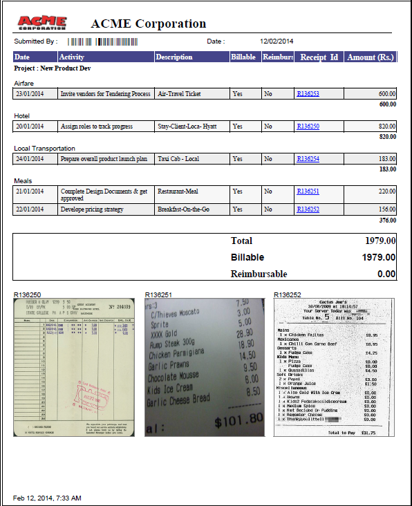 Project Expenses Report With Receipt Using Project Expense Management Software ZilicusPM
