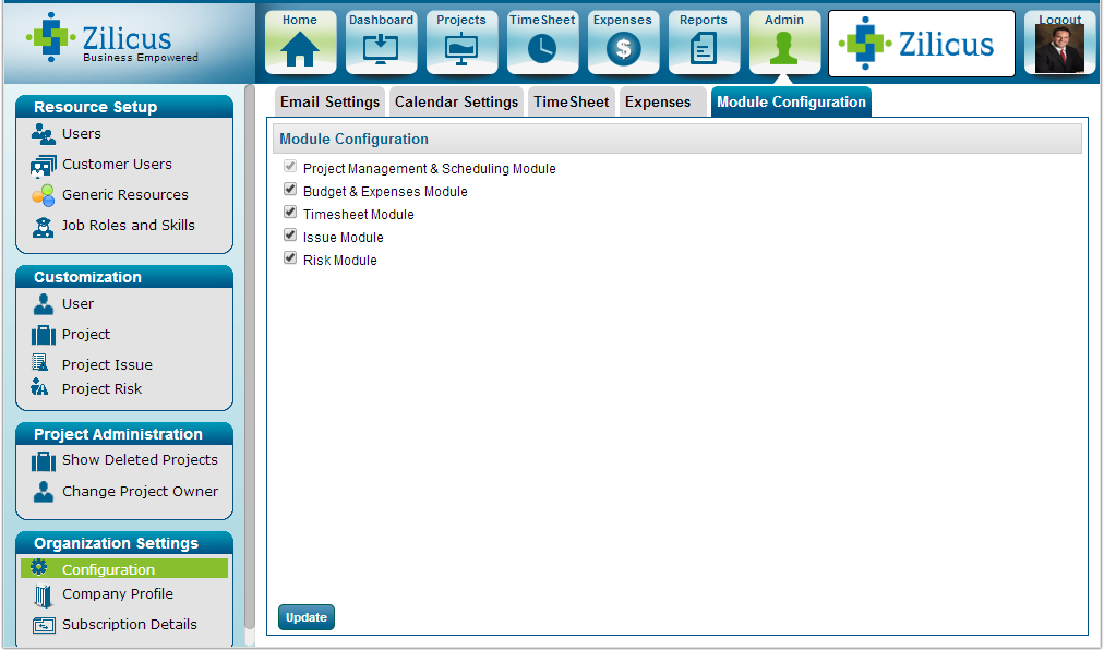 Configure Project Management Software Features / Modules