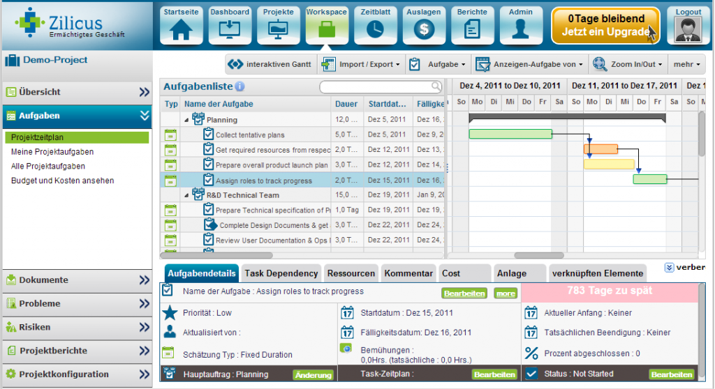 Online Project Management Software: ZilicusPM 8.1 : with German Interface