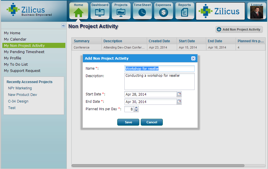 Add Non project activity in project management software - ZilicusPM