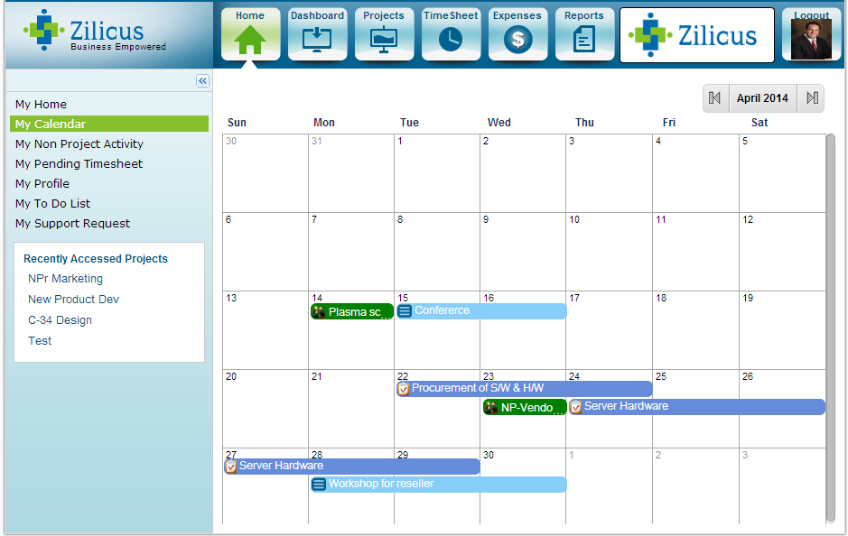 non project activity in calendar zilicus blog project management