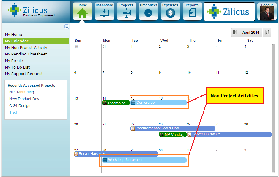 Non Project Activity In Calendar - As shown in project management software ZilicusPM