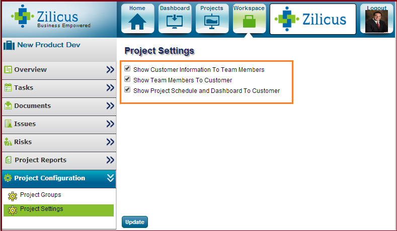 Configure access for clients in project management software - ZilicusPM