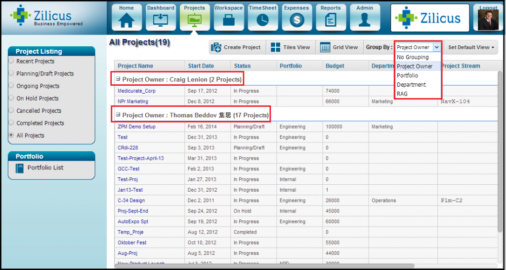 Organize Project Listing GroupBy Project Owner, Portfolio using project management software ZilicusPM