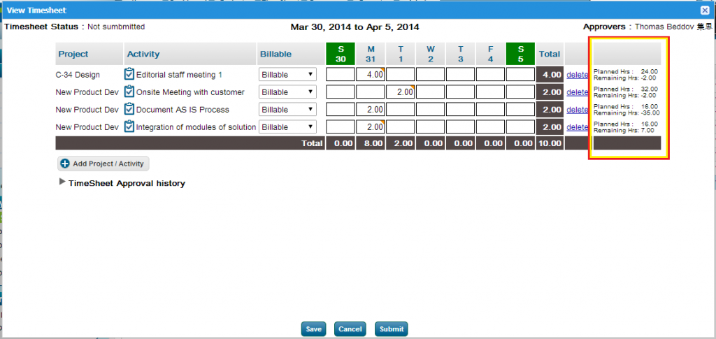 Submit Timesheet Planned, Remaining Hours in Project Management Software ZilicusPM