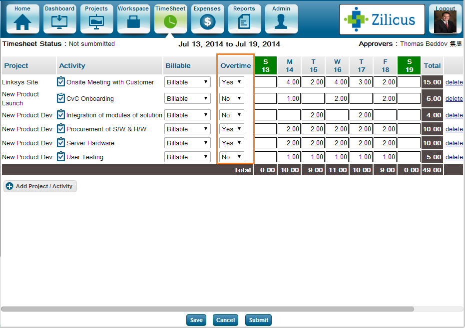 Project Management Software ZilicusPM 9.2 Enter Overtime Hours Project Timesheet in ZilicusPM