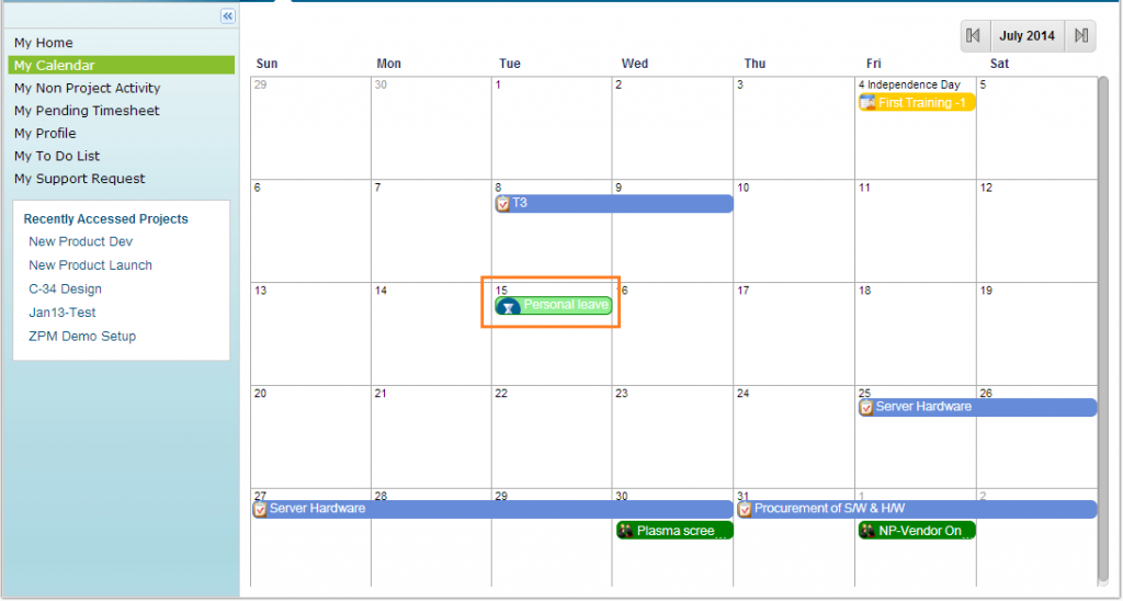 Project Management Software ZilicusPM 9.2 : Leaves-In-My-Calendar