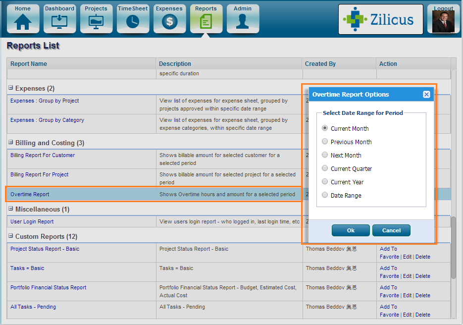 Project Management Software ZilicusPM 9.2 : Overtime-Time-Cost-Report-Selection