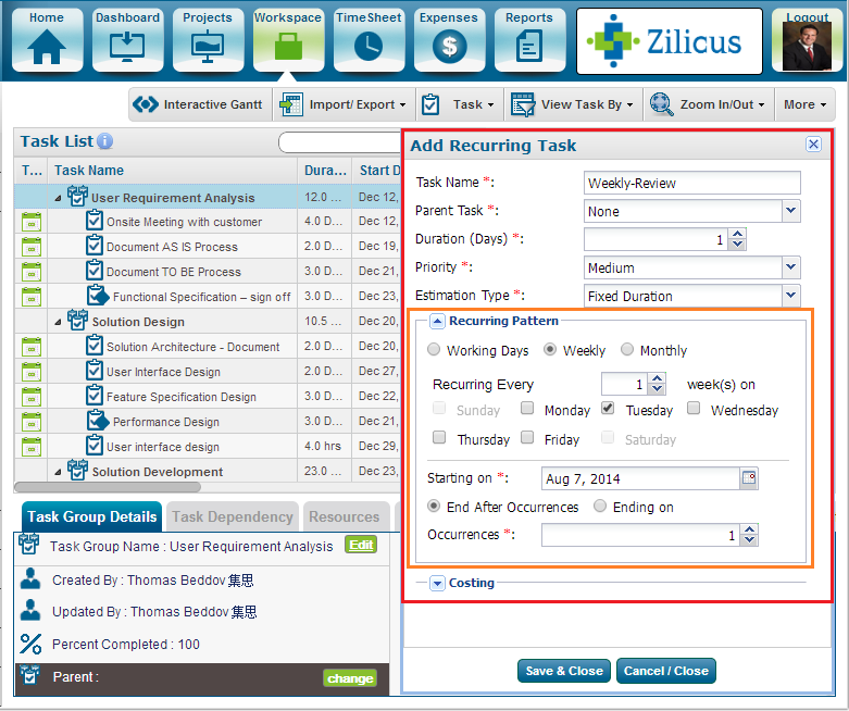 Project Management Software ZilicusPM 9.2 : Set Recurring Project Tasks in ZilicusPM