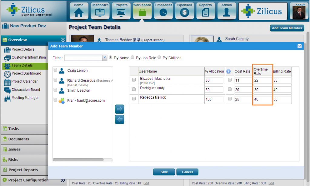 Project Management Software ZilicusPM 9.2 : Set Resource Overtime Rate For Project in ZilicusPM