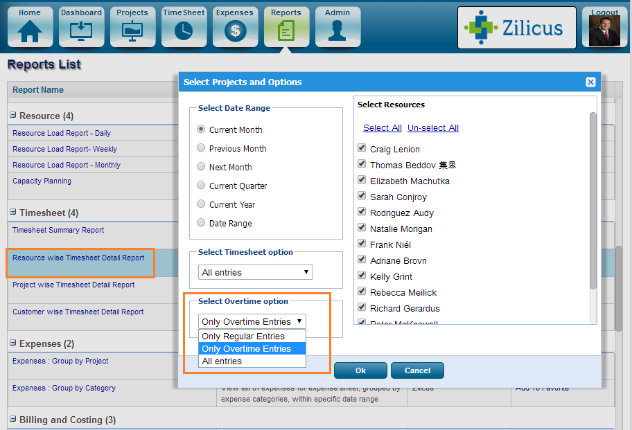 Project Management Software ZilicusPM 9.2 : Timesheet-Overtime-Report in ZilicusPM