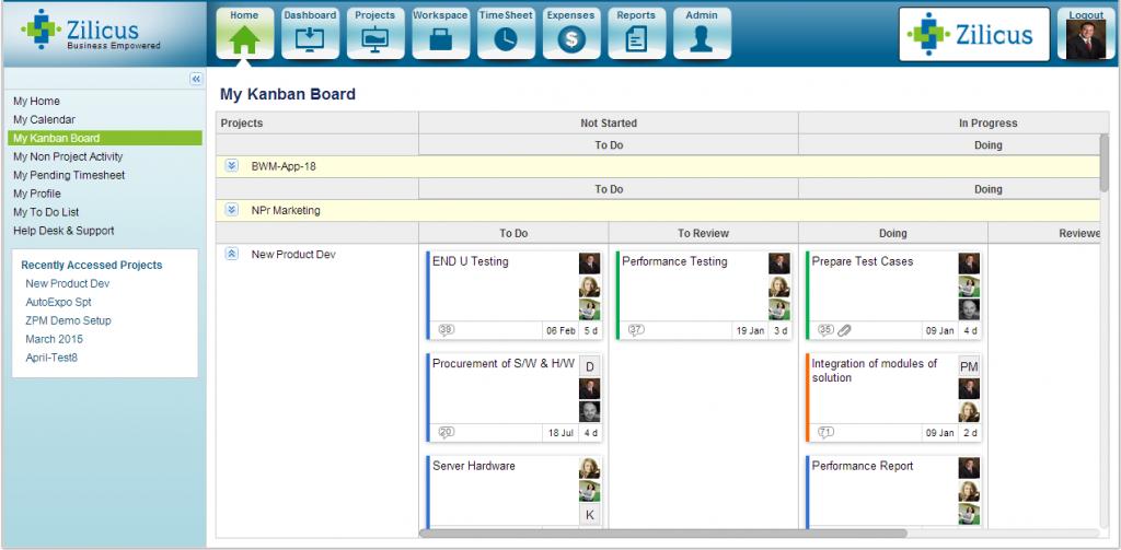 Kanban Board Software in ZilicusPM