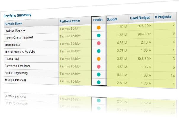 ZilicusPM Portfolio Health List - KPIs for Project Portfolio Manager