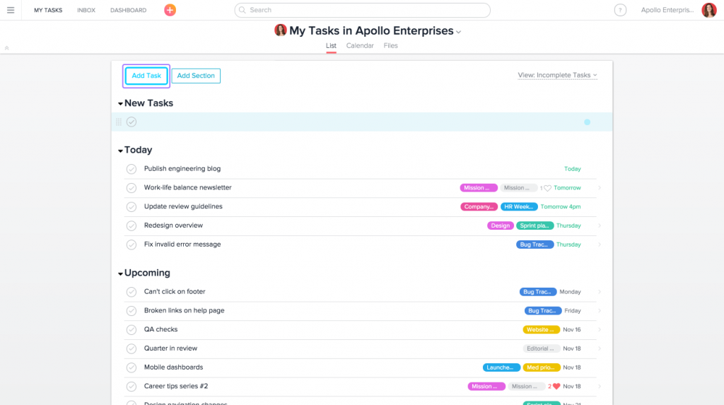 Asana Task Management and Team Collaboration Tool