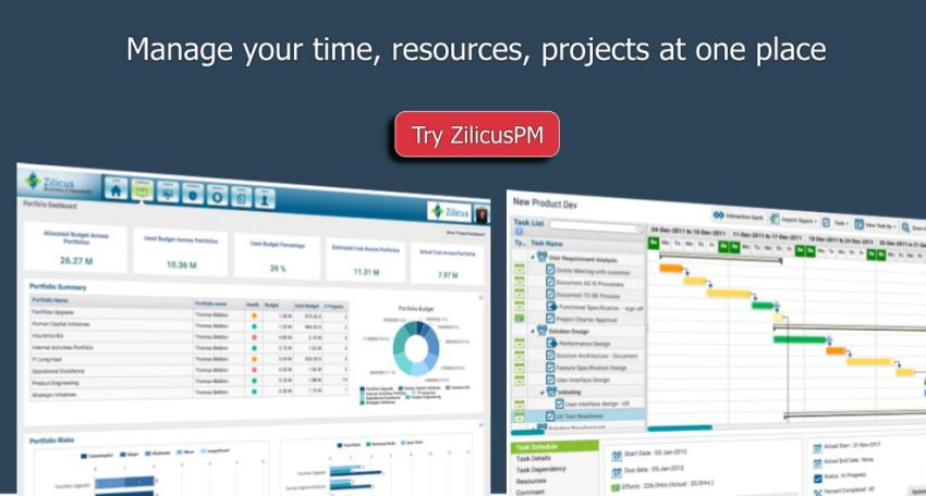 Manage Time, Resource, Projects with ZilicusPM Banner