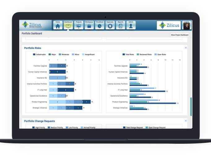 Project Portfolio Risk Dashboard in Risk Management Software